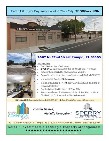 WET ZONED Turn- Key Restaurant Opportunity in Ybor City - Tampa