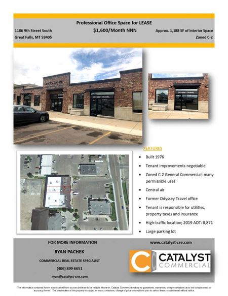 Former Odyssey Travel Suite for Lease - Great Falls