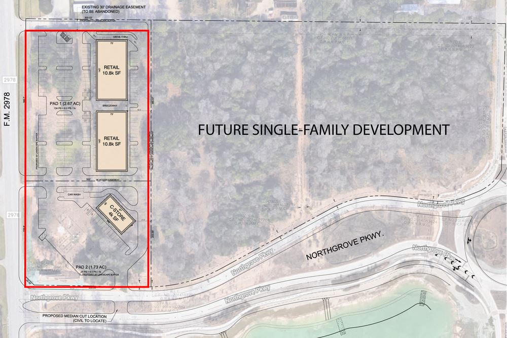 1.0 to 4.5 acres sites available for sale Northgrove -FM 2978
