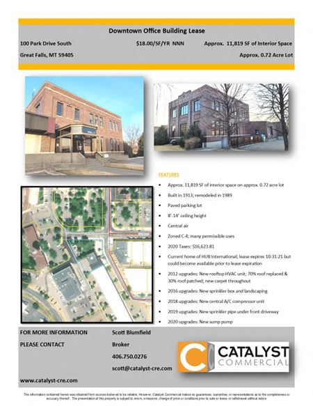 Former HUB Building for Lease - Great Falls