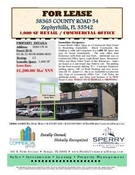 1,000 SF Retail/Office on County Road 54 - ZephyrhillsZephyrhills