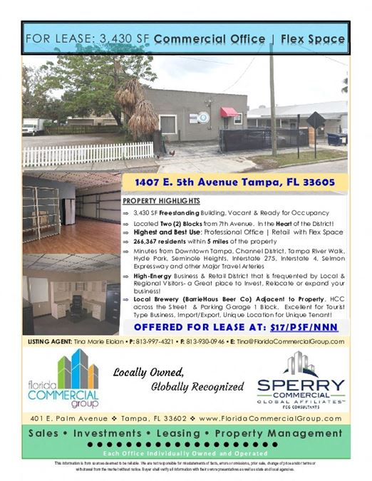 1407 E 5th Avenue,  FLEX SPACE air-conditioned warehouse/office/retail space