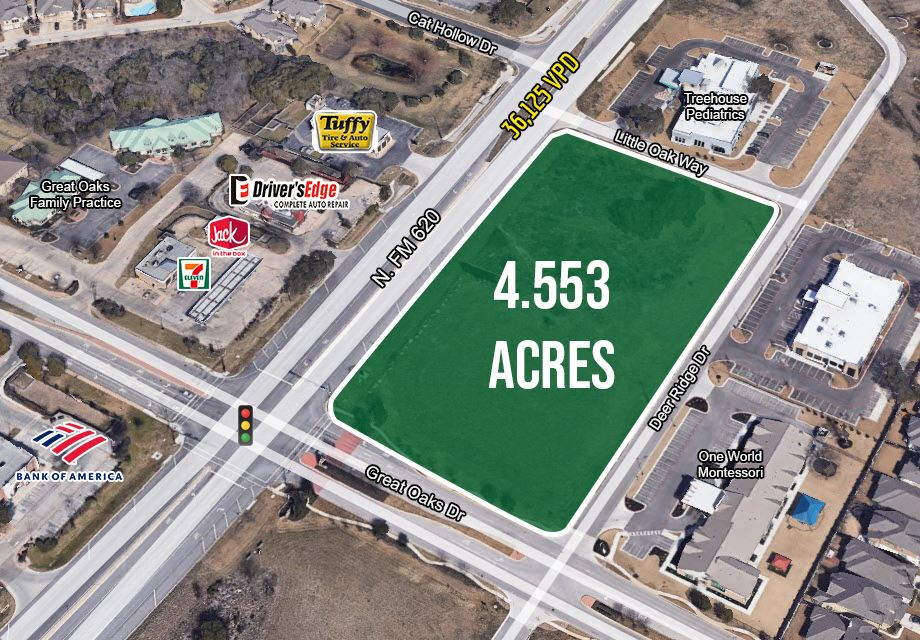 4.553 Acres at RR 620 & Great Oaks, Round Rock ETJ