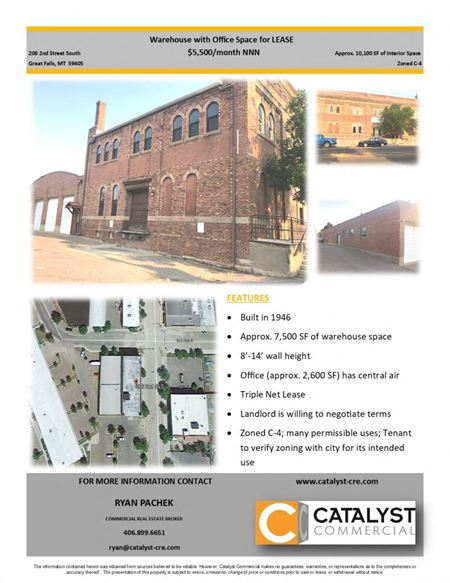 Warehouse w/ Office Space for Lease - Great Falls
