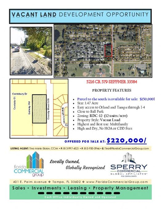 1.47 Acre land on CR 579 available for sale