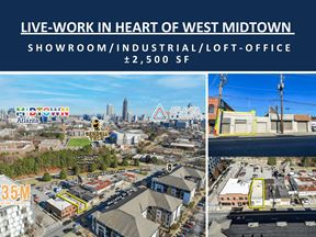 Live-Work Opportunity in Heart of West Midtown | ± 2,500 SF | Showroom/ Industrial/ Loft-Office