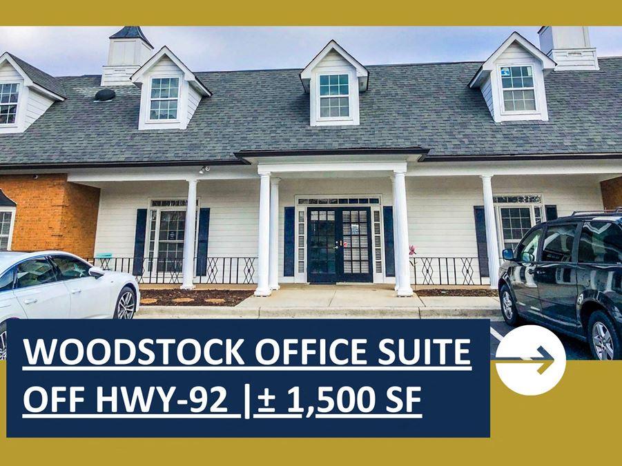 Woodstock Office Suite Off Hwy-92   ± 1,500 SF