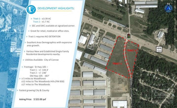 For Sale   ±3.39 Acres and ±1.7 Acres on SH 105 & Old Hwy 105 W