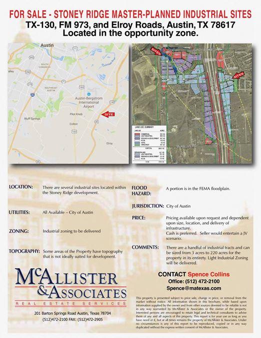 Stoney Ridge Master-Planned Industrial Sites
